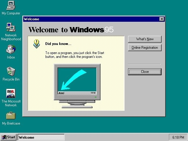 Pantalla de inicio de Windows 95