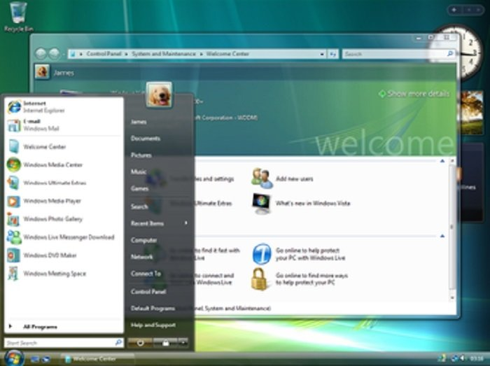Pantalla de inicio de Windows Vista