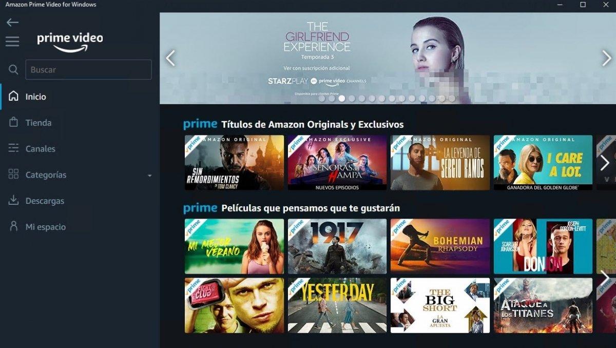 Pantalla de inicio del cliente de Amazon Prime Video