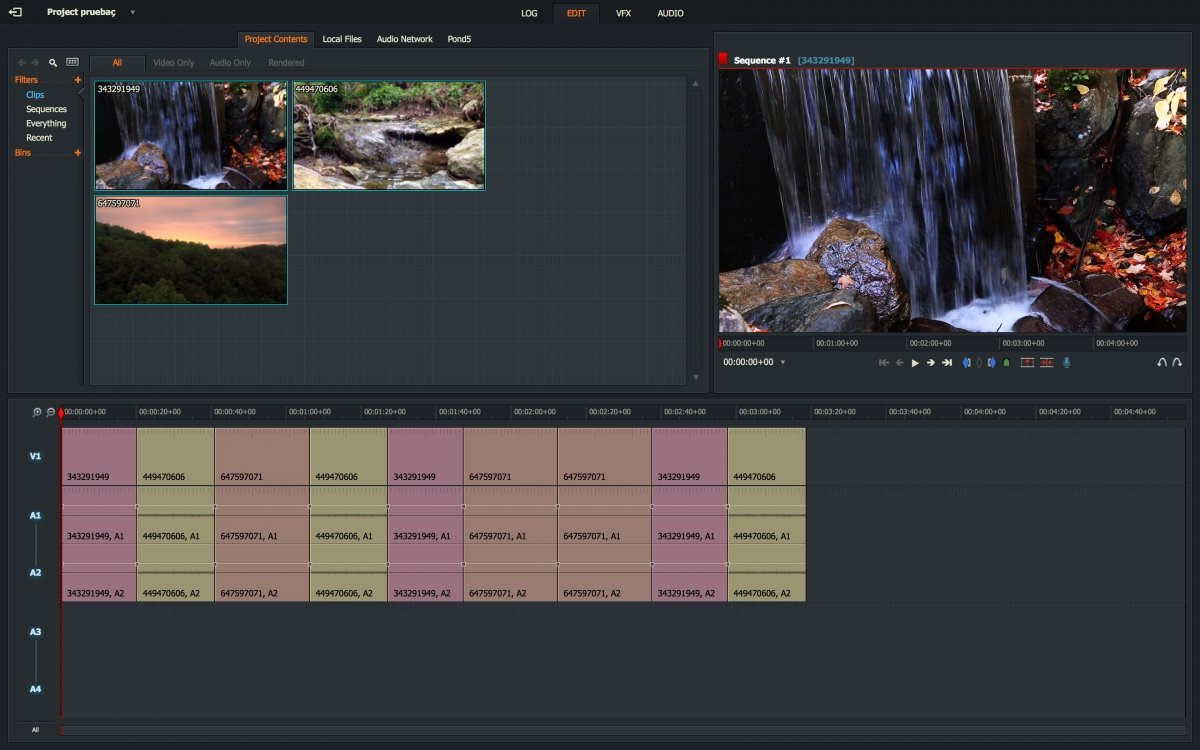 Pantalla de selección de fuentes de vídeo de Lightworks