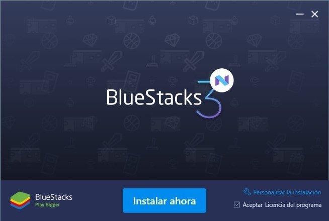 Pantalla inicial de instalación de BlueStacks