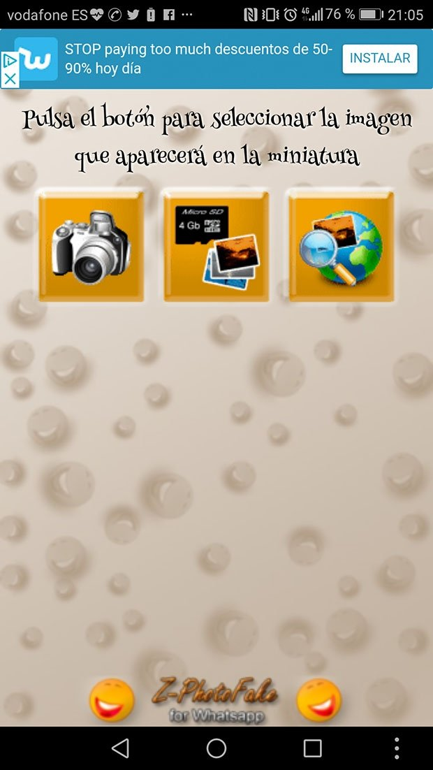 Pantalla inicial de la aplicación Z-Photo Fake