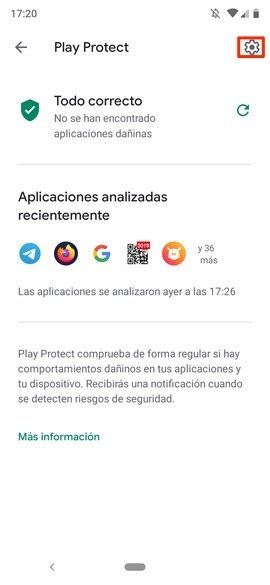 Pantalla principal de Google Play Protect