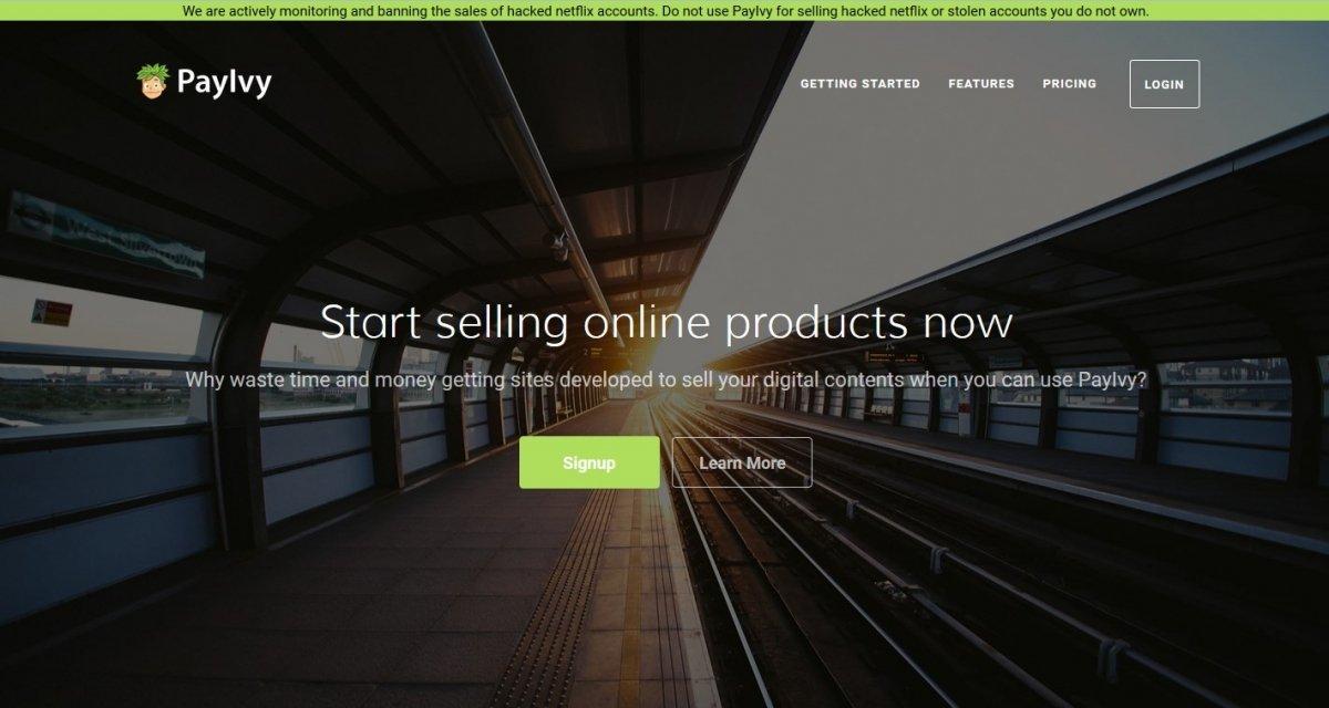 Pantalla principal de PayIvy con un aviso para los usuarios que venden cuentas de netflix