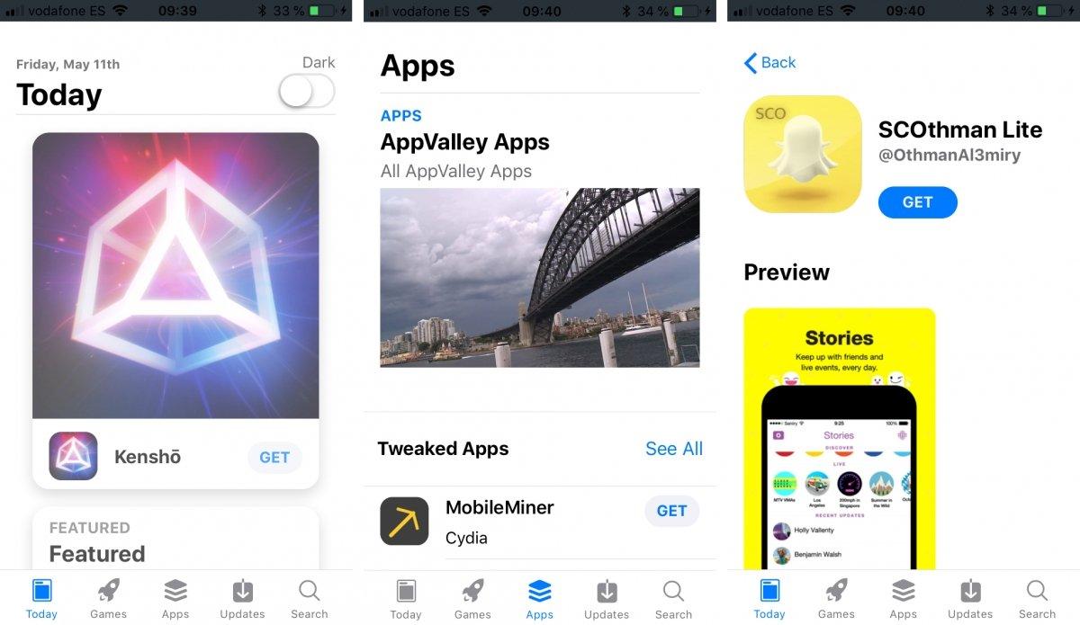 Pantallas de AppValley para iOS