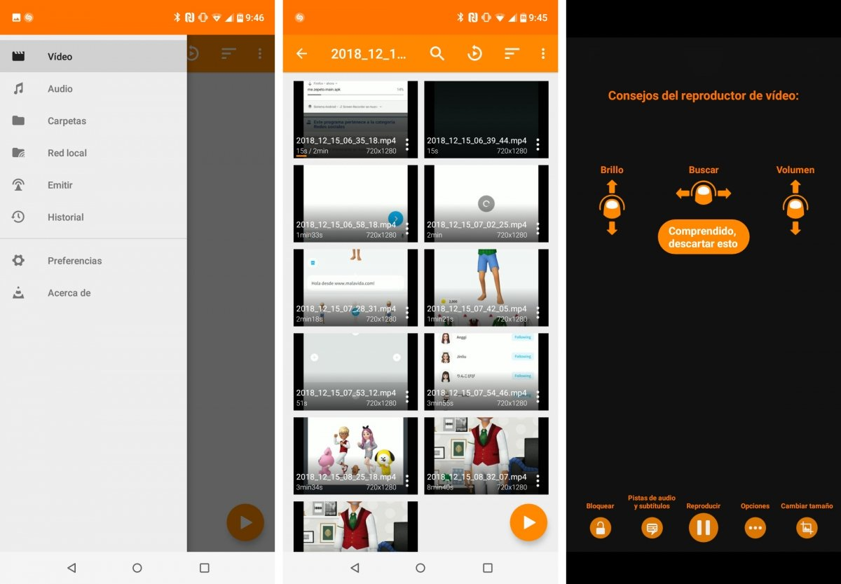 VLC screens in its Android version