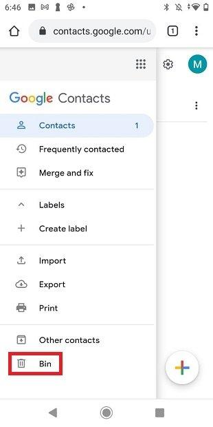 Papelera de reciclaje de Google Contacts
