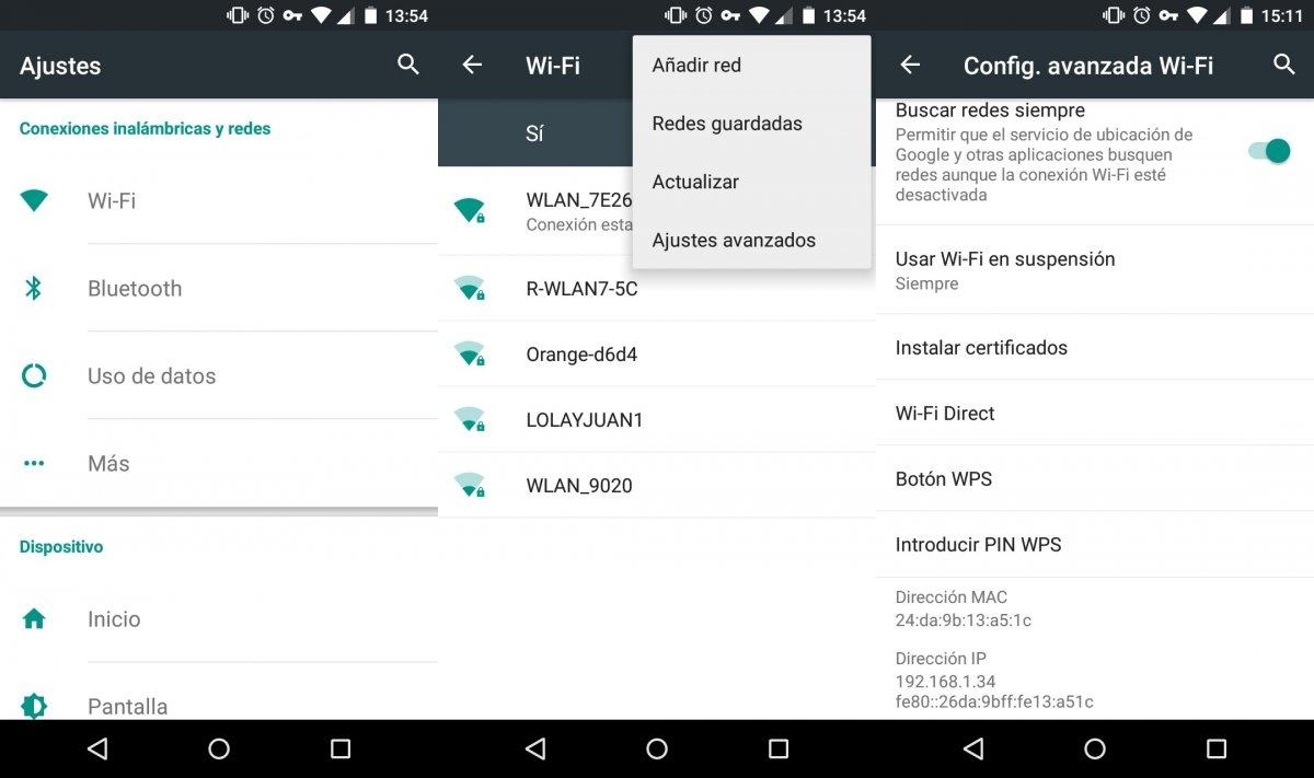 Para saber la dirección MAC en Android hay que entrar en los ajustes