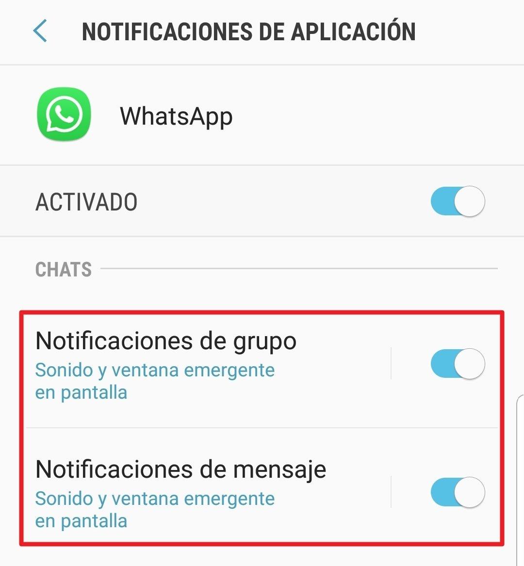Para seguir recibiendo mensajes hay que configurar ambas notificaciones