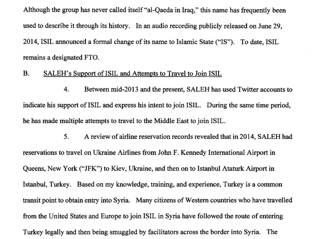 Párrafo del texto judicial que evidencia la contínua propaganda de ideas pro-ISIS