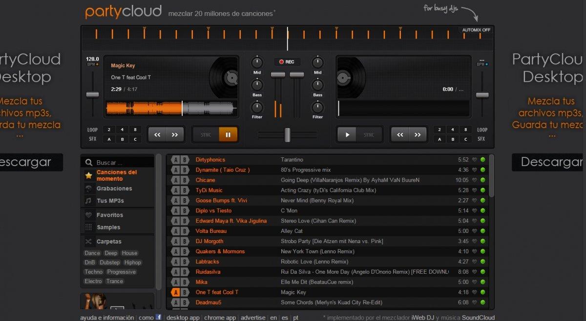 PartyCloud es una web de mezcla para DJs ocupados