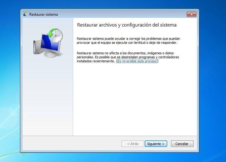 Paso 2 - Restaurar archivos y configuración del sistema