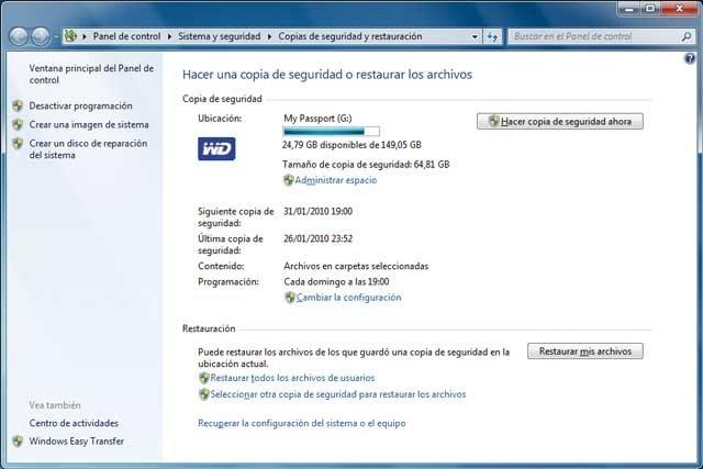 Copia de seguridad en windows 7