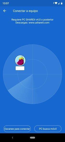 PC encontrado por SHAREit en Android