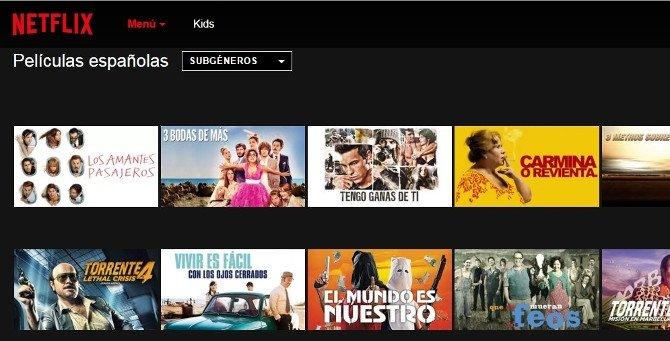 Películas españolas en Netflix