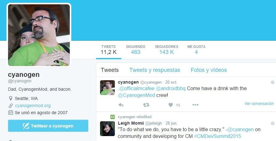 Perfil de Twitter de Steve Kondik, alias Cyanogen
