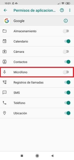 Permisos de Google para acceder al micro revocados