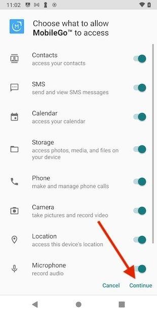 Permisos para usar MobileGo