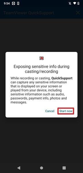 Permitir el control remoto en el dispositivo con QuickSupport