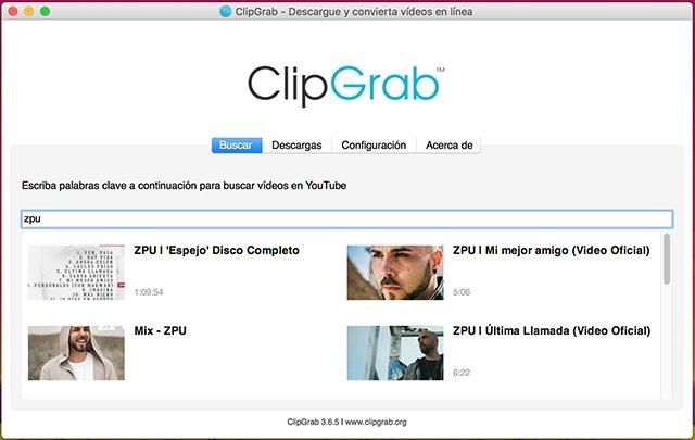 Pestaña búsqueda ClipGrab