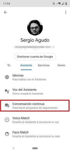 Pestaña del asistente de Google
