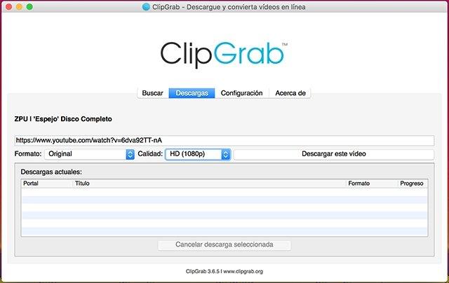 Pestaña descargas ClipGrab