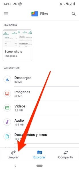 Pestaña Limpiar en Files de Google