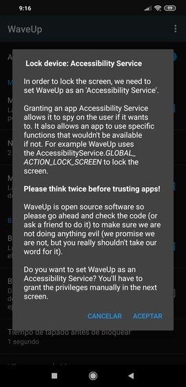 Petición de acceso a la accesibilidad de WaveUp