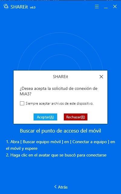 Petición de conexiónn de Android a SHAREit en Windows