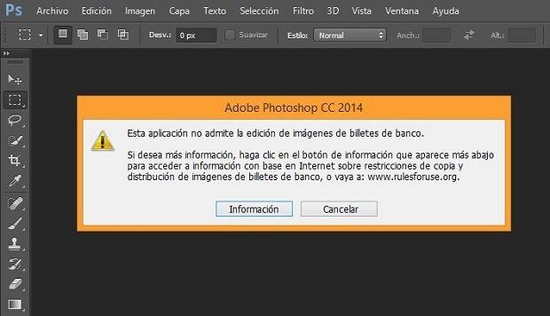 Photoshop no permite abrir imágenes de billetes