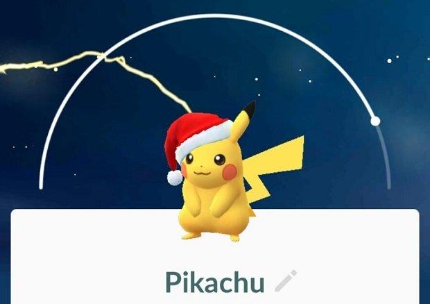 Pikachu con su gorro navideño