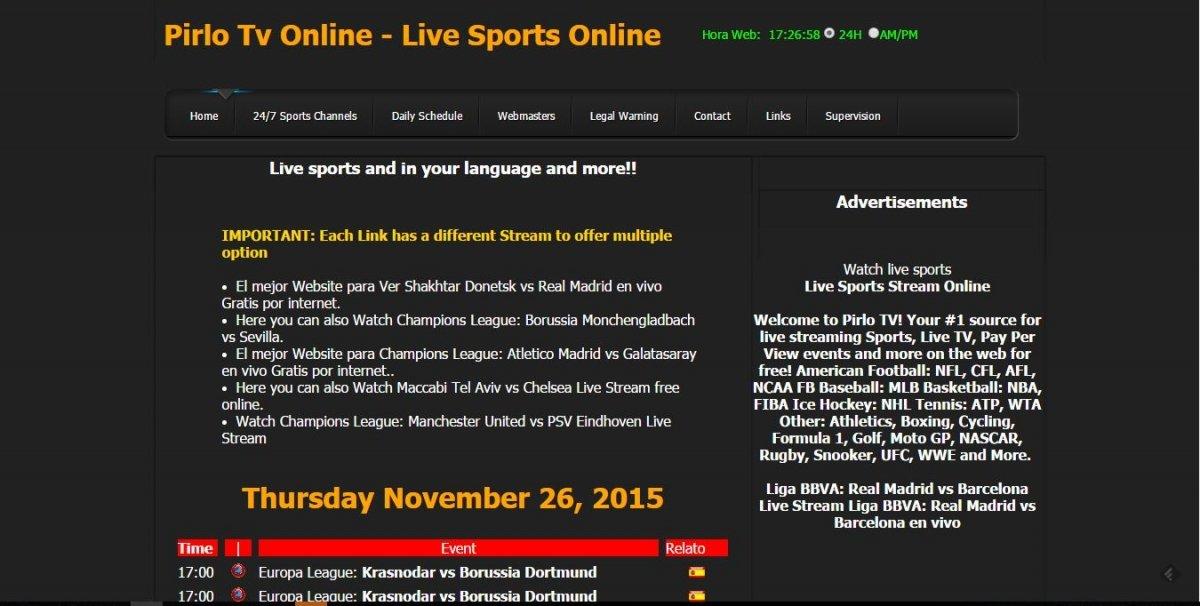 Pirlo TV Online cuenta con un diseño sencillo pero efectivo