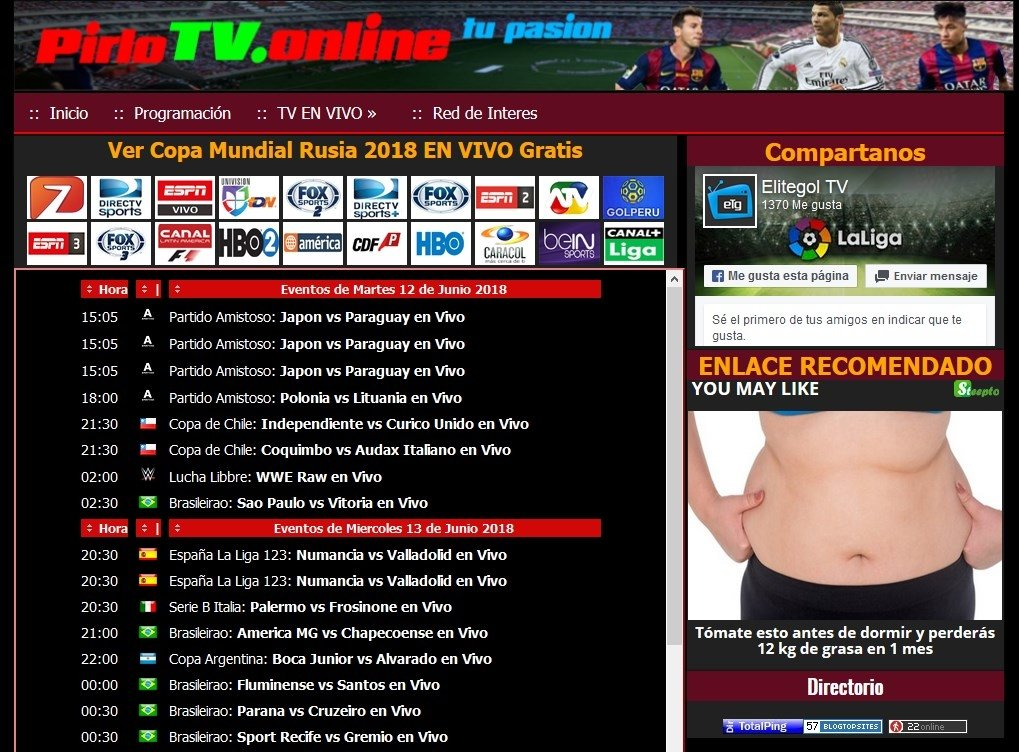 PirloTV ofrece deportes sin parar
