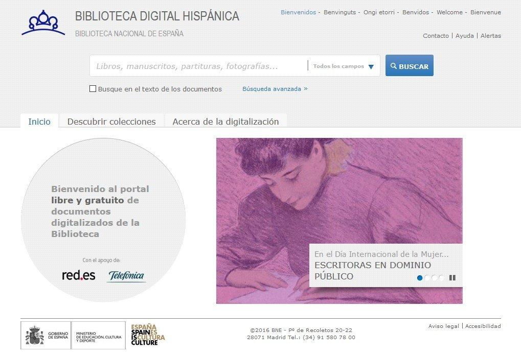 Portada de la Biblioteca Digital Hispánica