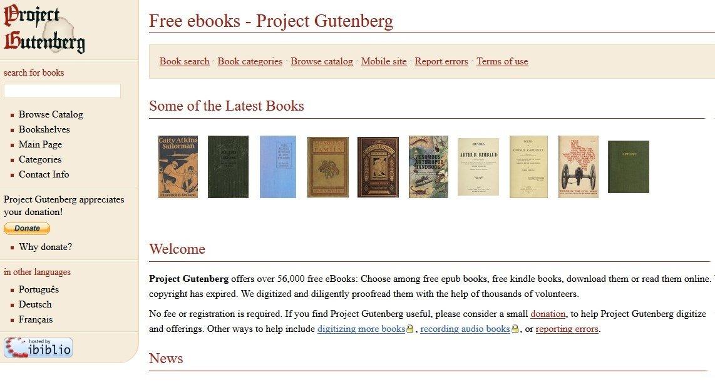 Portada de Proyecto Gutenberg