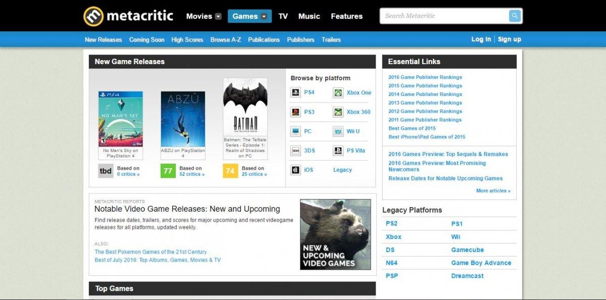 Portal de calificaciones de juegos de Metacritic