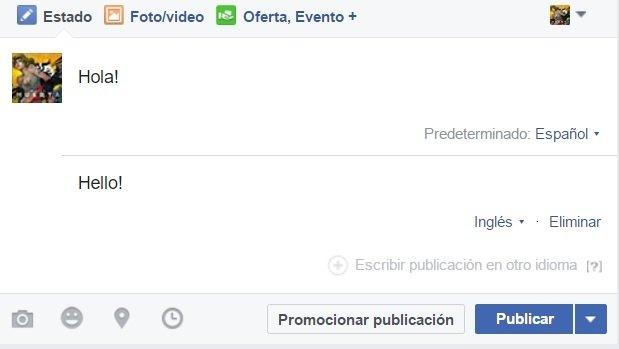 Postear varios idiomas en Facebook