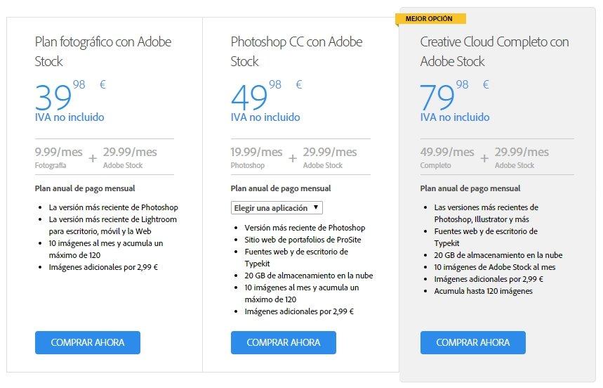 Precios de las imágenes con una suscripción a Adobe Creative Cloud