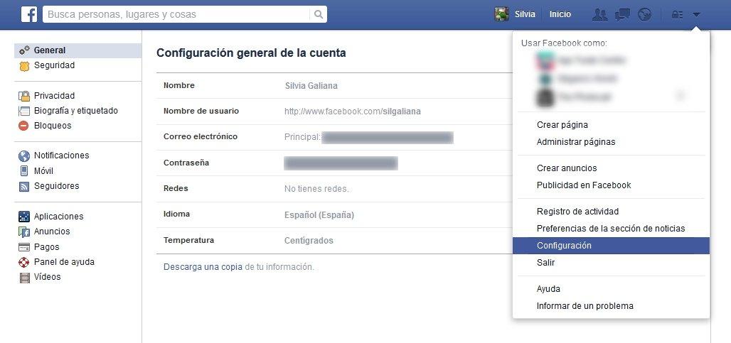 Primer paso para desactivar las notificaciones de Facebook
