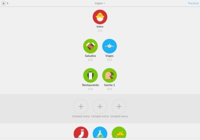 Primeros niveles del curso de inglés de Duolingo