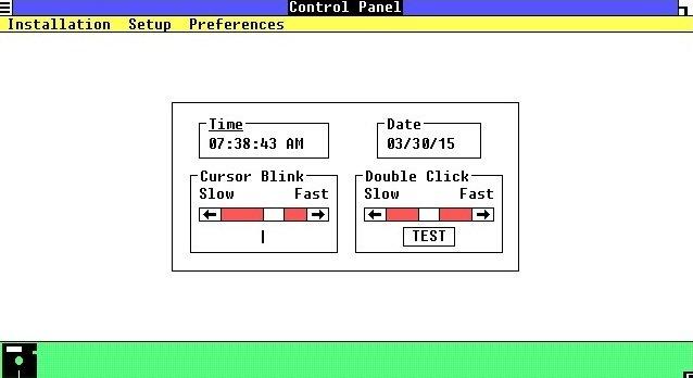 Principales opciones del Panel de Control de Windows 1.0