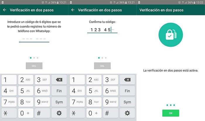 Proceso de activación de la verificación en dos pasos de WhatsApp