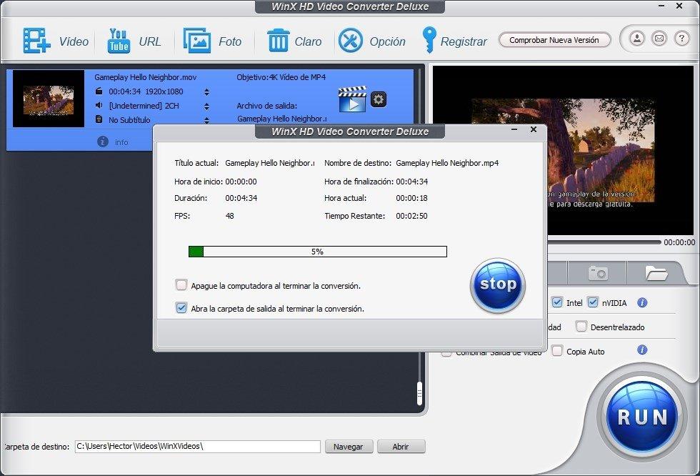 Proceso de conversión de un vídeo