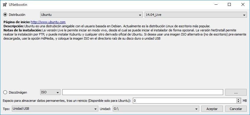 Proceso de creación de un USB booteable con Unetbootin
