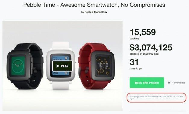 3 millones en 14 horas para el nuevo Pebble Time