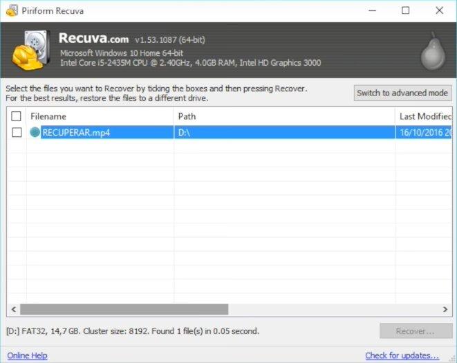 Programa Recuva para recuperar archivos borrados por error