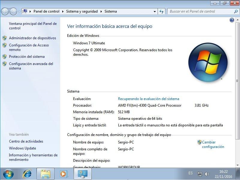 Propiedades del sistema en Windows 7