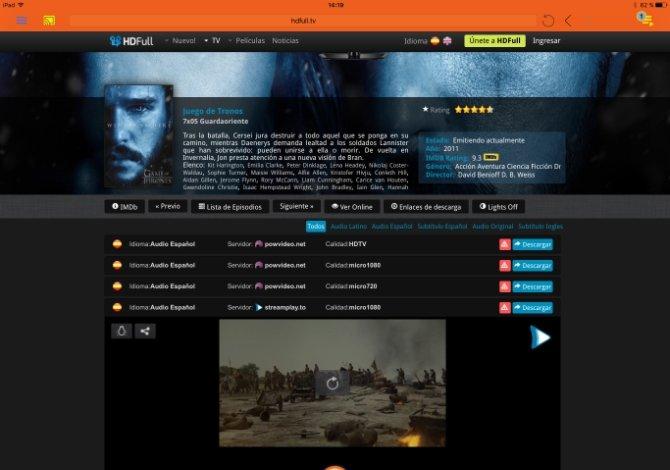 Prueba de reproducción de una serie con iWebTV