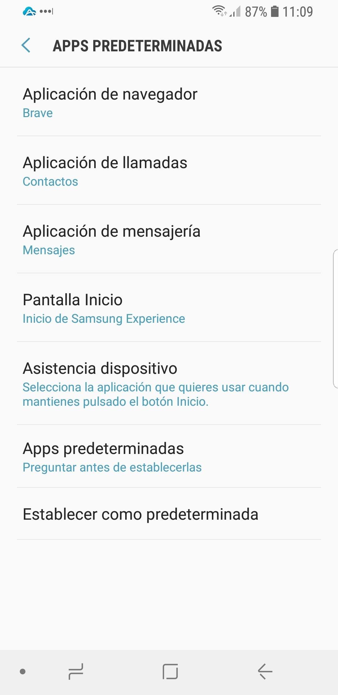 Pulsa en cualquier apartado para cambiar las apps por defecto