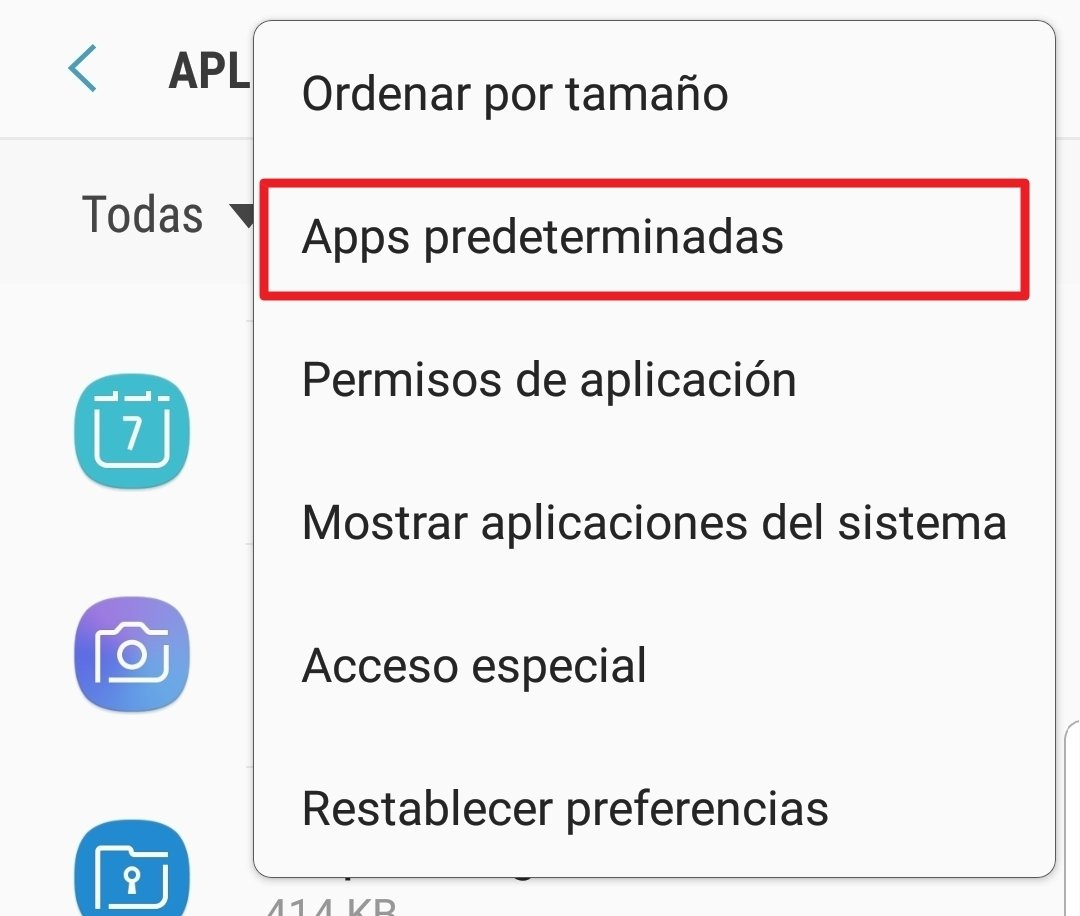 Pulsa para acceder al registro de apps predeterminadas